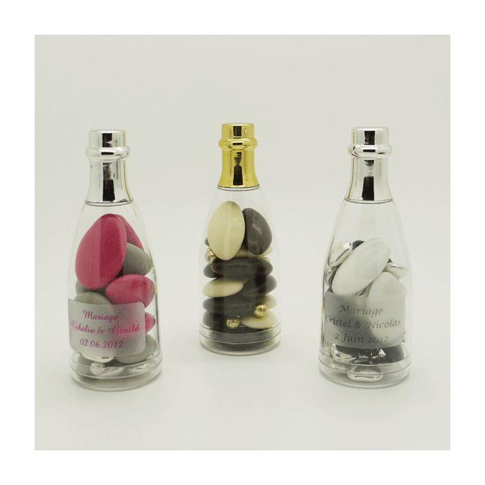 drag es mariage mini bouteille champagne drag es or ou argent. Black Bedroom Furniture Sets. Home Design Ideas