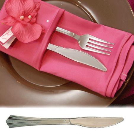 Couvert jetable - Couteau plastique imitation inox X50