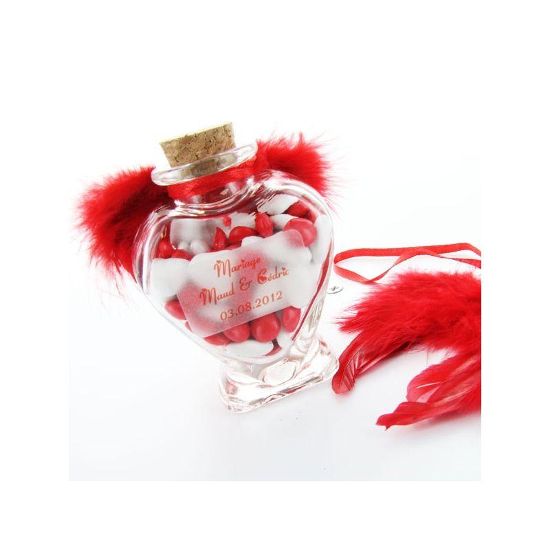 Pot dragées Coeur en verre