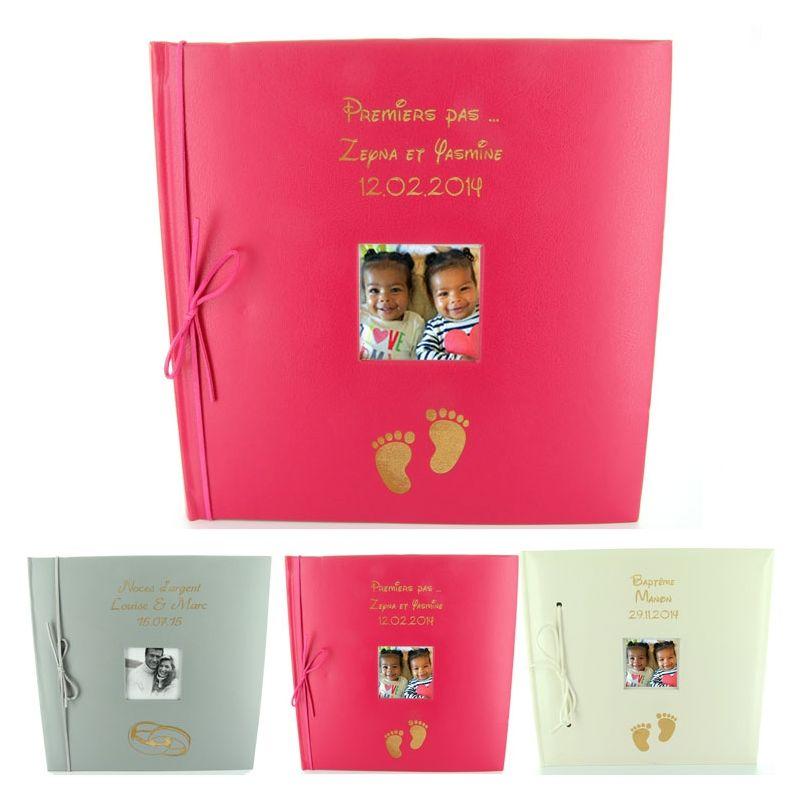 Livre d'or cuir /Album photo personnalisé Baptême