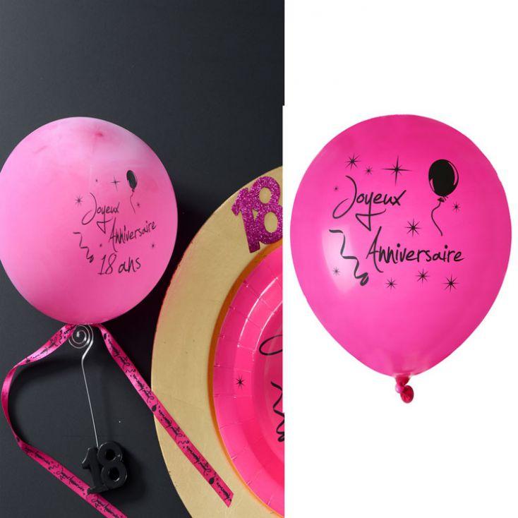 Ballon Joyeux Anniversaire Collection Fushia Lot De 8 Deco De Salle