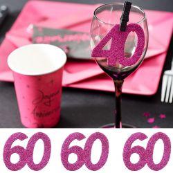 6 Gros confetti Anniversaire - Fuchsia 60 ans