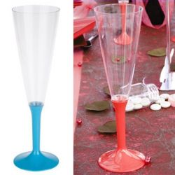 Flûte champagne plastique 13cl (10psc) - Turquoise