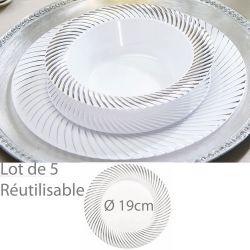 Assiette reutilisable argentée Lamée 18cm (lot de 5)