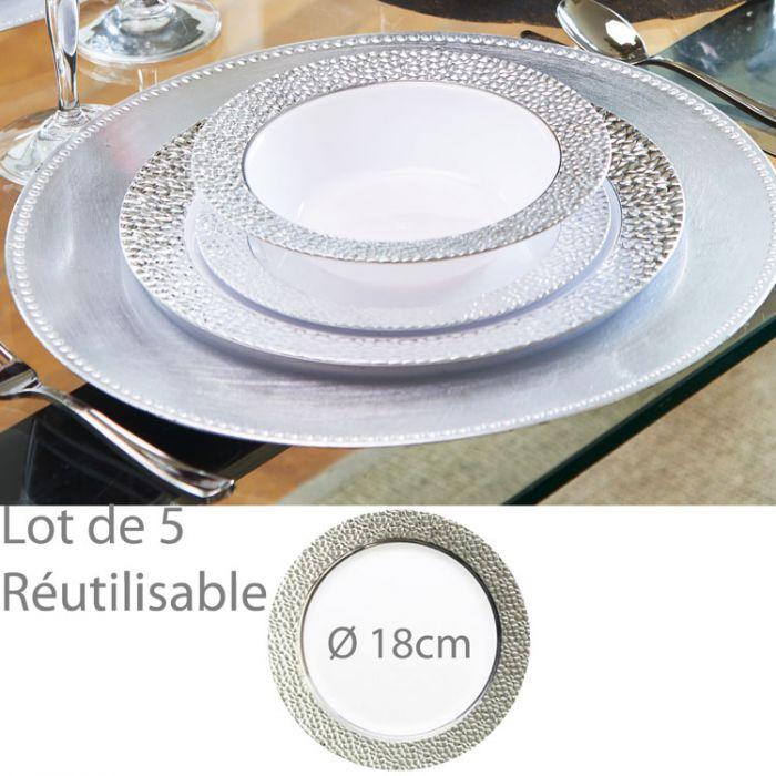 assiette plastique jetable reutilisable argent e 18cm lot de 5. Black Bedroom Furniture Sets. Home Design Ideas