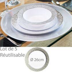 Assiette reutilisable argentée Pretige 26cm (lot de 5)