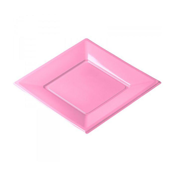 vaisselle jetable assiette plastique carr 23x23cm rose. Black Bedroom Furniture Sets. Home Design Ideas