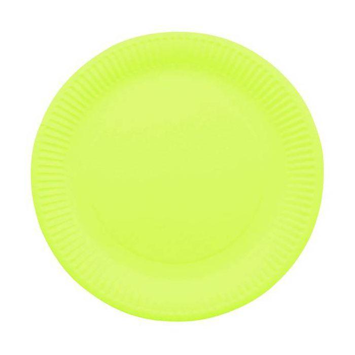 assiette jetable 23cm ronde vert anis lot de 10 vaisselle jetable. Black Bedroom Furniture Sets. Home Design Ideas