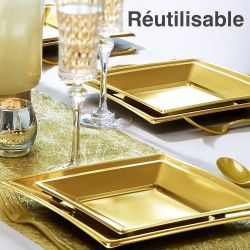 Vaisselle jetable mariage communion bapt me - Assiette de presentation doree ...