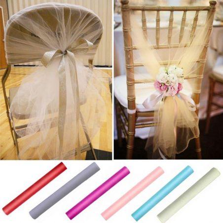 Noeud de chaise mariage en Tulle (80cm x 25m)