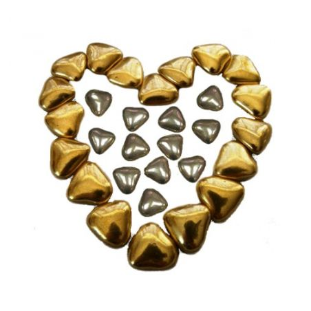 Mini coeur chocolat Or ou Argent pas cher