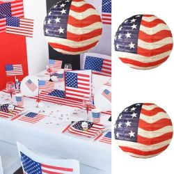 Lampion deco USA Ø 30cm (lot de 2)