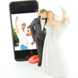 Figurine gâteau mariage - Couple Selfi