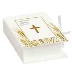 Boite dragées communion livre Bible (lot de 10)