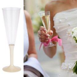 Flûte champagne plastique 13cl (10psc) - Ecru