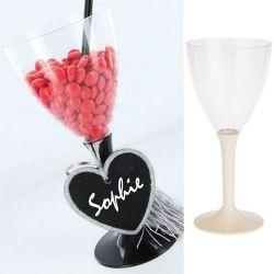 Verre à vin jetable plastique 18cl (10psc) - Ecru