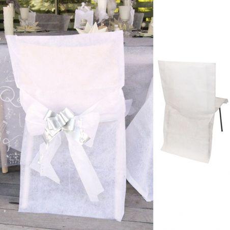 6 Housses de chaise mariage - Blanche
