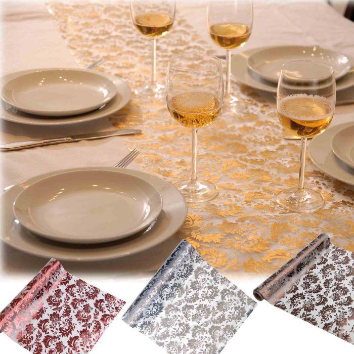 chemin de table arabesque d corations de table fleurs de drag es. Black Bedroom Furniture Sets. Home Design Ideas
