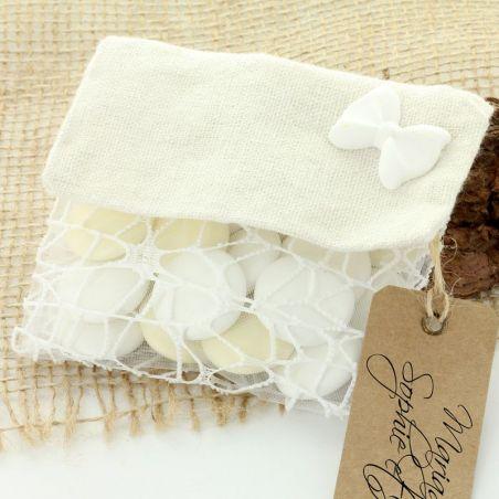 Pochette femme à dragées - Blanc