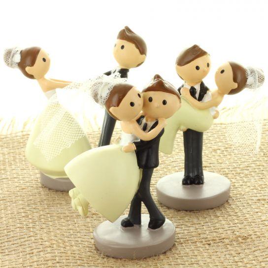 Lot De 3 Figurines Couple Maries Cartoon 8 5cm