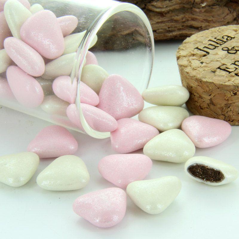 Dragées cœurs mélange Scintillant - Ivoire et Rose