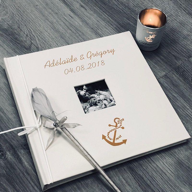 Livre d'or personnalisé Mer / Album photo Cuir
