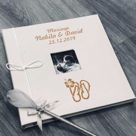Livre d'or mariage personnalisé / Album photo - Plage