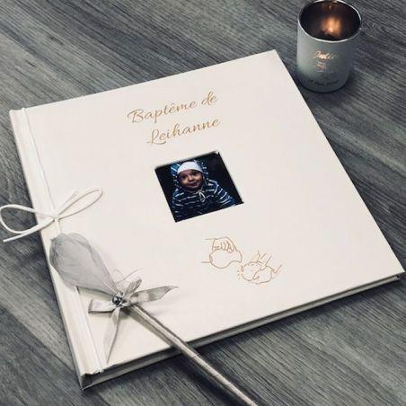 Livre d'or baptême religieux Personnalisé / Album photo - Carafe