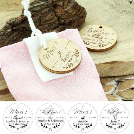 Étiquettes dragées bois personnalisée - Ronde (Lot de 14)