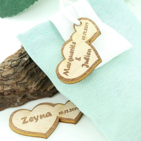 Etiquettes dragées bois Coeur (lot de 11)
