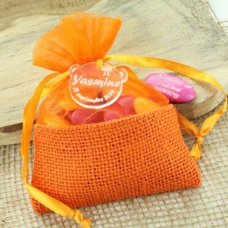 Bourse dragées en JUTE Orange - (12pcs)