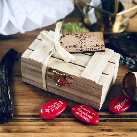 Boite dragées Caisse en bois