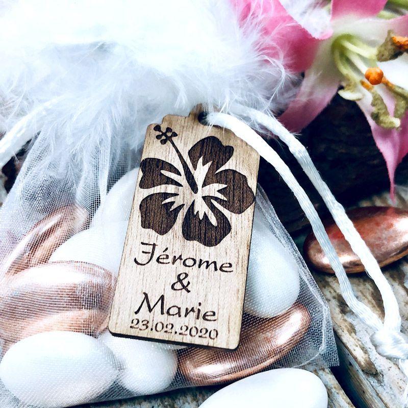 Etiquettes dragées bois Fleur Tropical (Lot de 20)