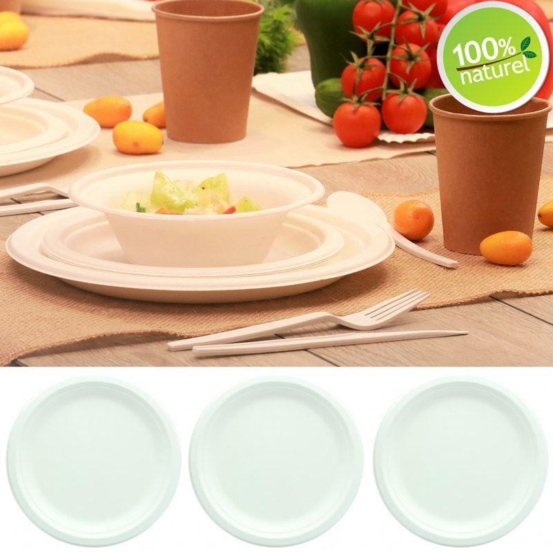 25 assiette ronde biod gradable 100 naturel en fibre de canne sucre. Black Bedroom Furniture Sets. Home Design Ideas