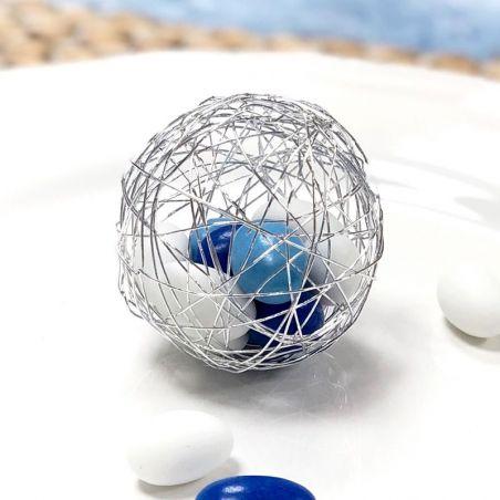 (Lot de 6) Boule dragées métal argenté