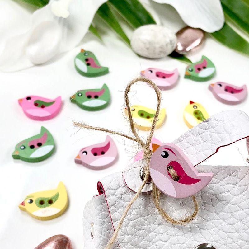 24 oiseaux en bois décoratifs